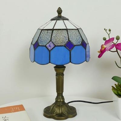 Glass Lattice Bowl Desk Light Hotel Restaurant 1 Head Tiffany Traditional Table Light in Blue/Green/Pink/Yellow
