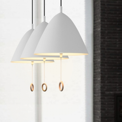 Aluminum Umbrella Shape Pendant Light One Light Nordic Style Hanging Light in Gray/White for Bedroom