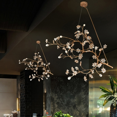 12 Lights Branch Chandelier with Crystal Petal Romantic Metal Hanging Light in Gold for Hotel