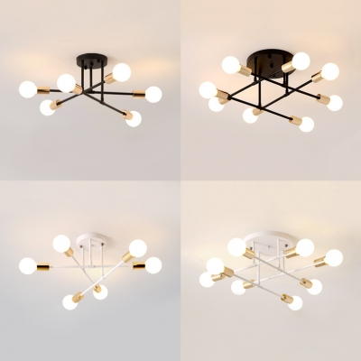 Open Bulb Living Room Ceiling Light Metal 6/8 Bulbs Modern Style Semi Flush Ceiling Light in Black/White