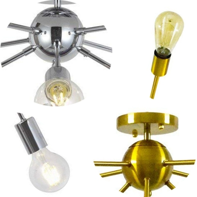 Modern Style Gold/Silver Ceiling Light Sputnik 8 Bulb Metal Flush Light for Living Room
