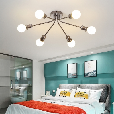 Bare Bulb Bedroom Semi Flushmount Light Metal 6/8 Lights Simple Style Ceiling Lamp in Coffee/Gold