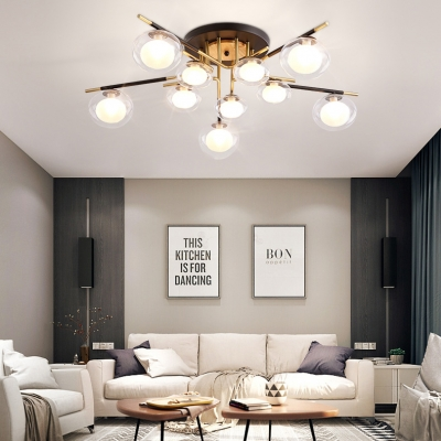 Living Room Oval Semi Flush Mount Light