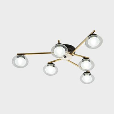 Cafe Restaurant Oval Semi Flush Ceiling Light Glass 6/8/10 Heads Modern Black/Gold Ceiling Light