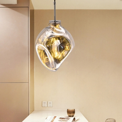 1 Bulb Irregular Shade Hanging Light Modern Stylish Glass Ceiling Pendant in Amber/Rose Gold/Silver for Balcony