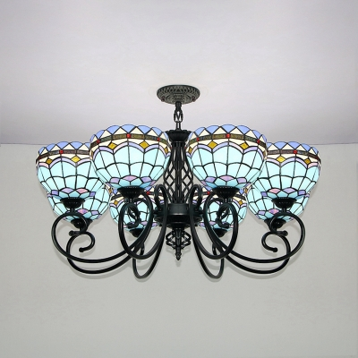 8 Lights Dome Shade Chandelier Tiffany Style Stained Glass Pendant Lamp for Living Room Villa