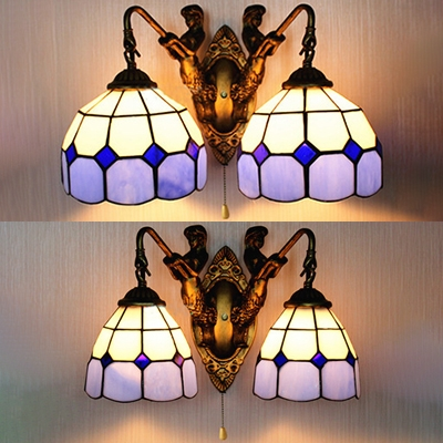 Antique Style Mermaid Wall Light With Pull Chain 2 Lights Glass Wall Sconce For Dining Room Beautifulhalo Com