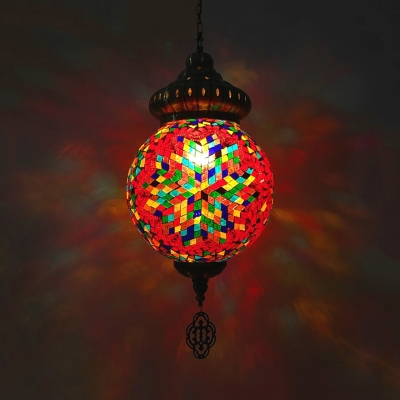 Art Deco Spherical Pendant Light 1/4 Pack 1 Head Colorful Glass Hanging Light for Bar Villa(not Specified We will be Random Shipments)