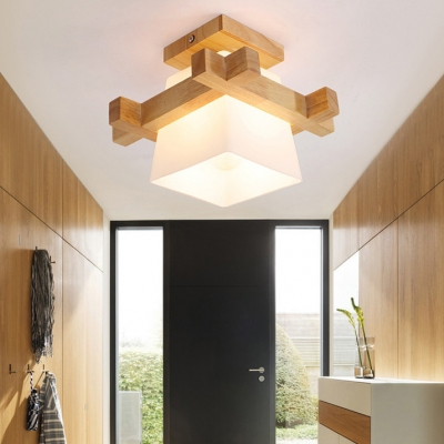 Asian Stylish Trapezoid Flushmount Light Wood 1 Head Beige Ceiling Lamp for Shop Dining Room