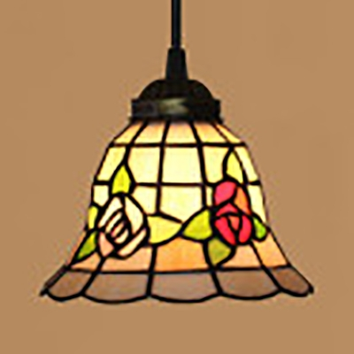 Beige Bell Shade Pendant Light with Flower 1 Light Rustic Style Stained Glass Hanging Light for Shop