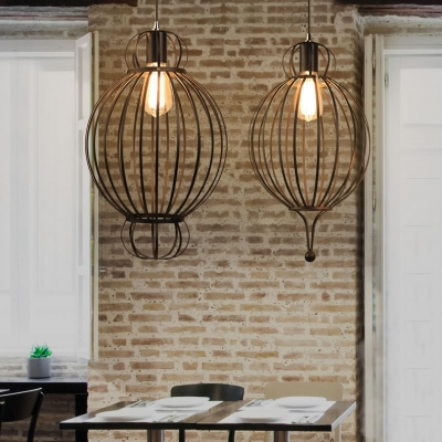 Black Orb Cage Ceiling Pendant 1 Light Industrial Metal Hanging Light for Dining Table Cafe