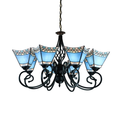 Blue Craftsman Pendant Light 8 Lights Tiffany Style Nautical Glass Chandelier for Living Room