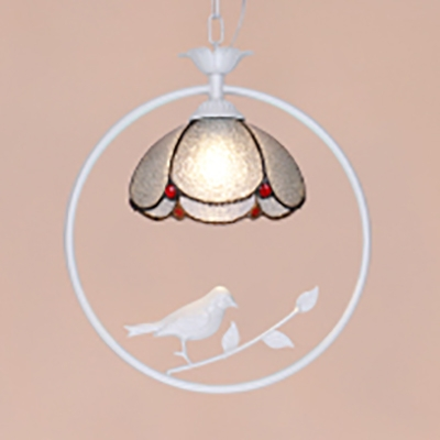 Blue & Dimple/Dimple Glass Pendant Light with Bird Foyer 1 Light Tiffany Rustic Hanging Light