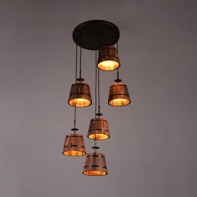 Brown Barrel Suspension Light 6 Lights