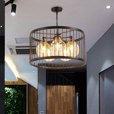 Dining Room Orb Shade Pendant Lamp with Wire Frame Metal 3/5 Lights Traditional Black Chandelier