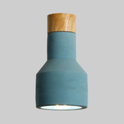 Flashlight Shaped Kitchen Pendant Lamp Cement 1 Light Modern Hanging Light in Blue/Gray/Green/Red