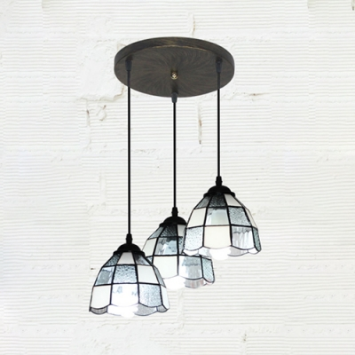 Glass Lattice Dome Pendant Light 3 Lights Tiffany Style Hanging Lamp in Blue/White for Restaurant