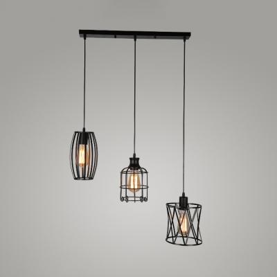 timeless design 645d8 79175 Black Wire Frame Pendant Light Three Lights Industrial Iron Hanging
