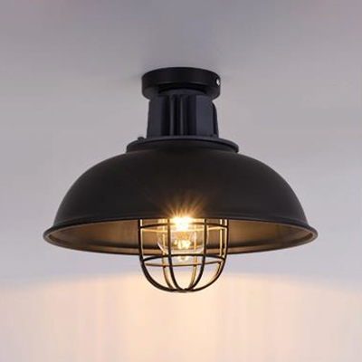 Vintage Style Dome Semi Flush Mount Light Metal 1 Head Black Ceiling Light with Bulb Cage for Factory