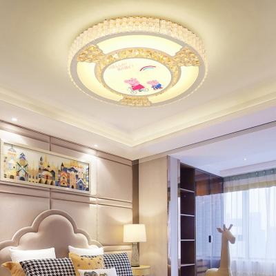 Kid Bedroom Slim Panel Ceiling Mount Light Acrylic Crystal Third Gear Modern LED Ceiling Lamp