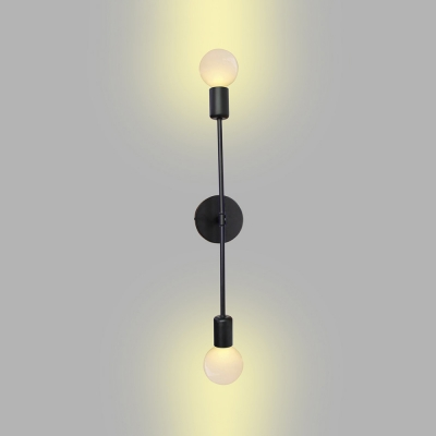 Linear Bedroom Hallway Wall Lamp with Bare Bulb Iron 2 Lights Simple Light Wall Light in Black