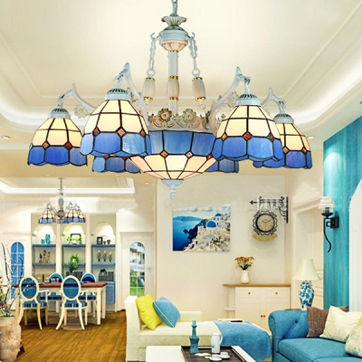 Living Room Cone Dome Chandelier Glass 9 Lights Mediterranean Style