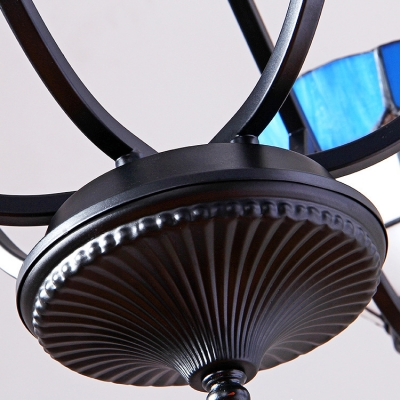 Mediterranean Style Blue Pendant Lamp Dome Shade 6/8 Lights Glass Chandelier for Hotel