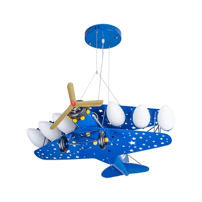 Metal Airplane LED Suspension Light Kids Cool LED Pendant Light in Blue/Red/Yellow for Kindergarten