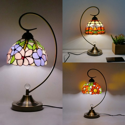 Restaurant Blossom Night Light Stained Glass & Metal 1 Light Rustic Tiffany Desk Light