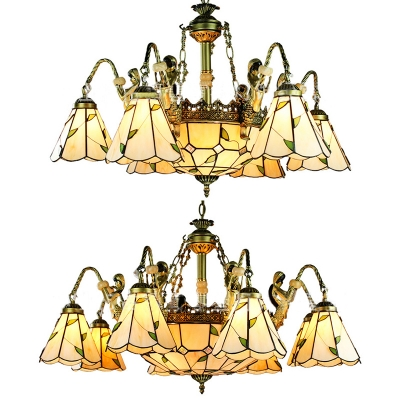 Rustic Cone Dome Chandelier with Mermaid 9/11 Lights Glass Pendant Lamps in Beige for Living Room