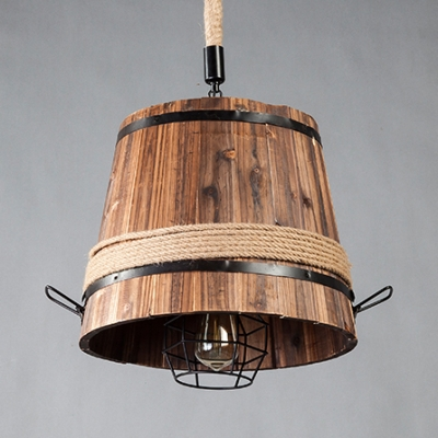 Rustic Style Barrel Pendant Light 1 Light Rope Wood Hanging Light in Brown for Cafe Bar