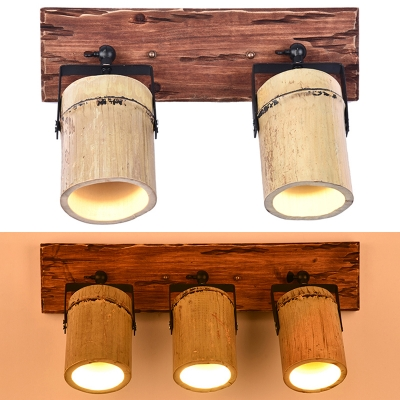 Rustic Style Beige Wall Light Cylinder 2/3 Lights Wood Angle Adjustable Sconce Light for Stair Foyer
