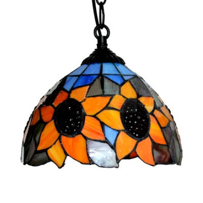 Rustic Style Orange Ceiling Pendant Bowl 1 Light Stained Glass Sunflower Hanging Light for Hallway