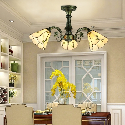Study Room Cone Semi Flush Light with Leaf/Peacock Tail/Flower Glass 3 Lights Tiffany Style Ceiling Fixture