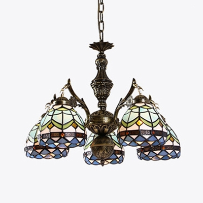 Magnificent Tiffany Style Dome Chandelier 5 Lights Stained Glass Hanging Light For Download Free Architecture Designs Xoliawazosbritishbridgeorg