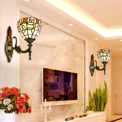 Tiffany Style Rose Sconce Light Stained Glass 1 Light Wall Lamp for Living Room Foyer