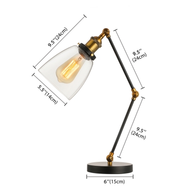 Unique Designed Industrial Style 1 Light Glass Bowl Shade LED Table Lamp