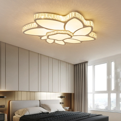 White Flower Led Ceiling Mount Light Creative Acrylic Crystal