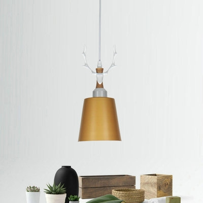 1 Light Bucket Suspension Light Nordic Style Metal Ceiling Light with Antlers for Girl Bedroom