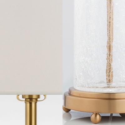 1 Light Cylinder Desk Light Modern Cracked Glass Reading Light in White for Office Restaurant