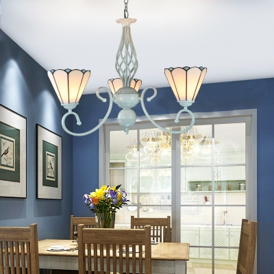 3 Lights Cone Pendant Lights Tiffany Style Glass Chandelier in White for Restaurant Bedroom