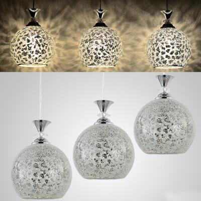 3 Lights Globe Pendant Light Morocco Style Glass Suspension Light in Chrome/Blue for Hallway