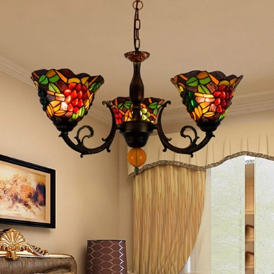3 Lights Grapes Suspension Light Tiffany Style Rustic Stained Glass Chandelier for Hallway