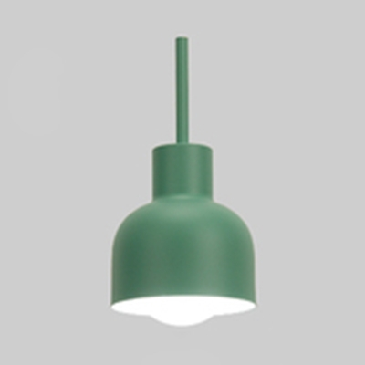 1 Head Dome Shade Pendant Light Macaron Loft Metal Suspension Light in Green/Pink/Yellow for Study Room