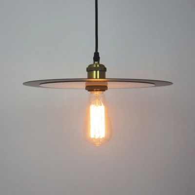 Metal Dish Pendant Light With Bare Bulb