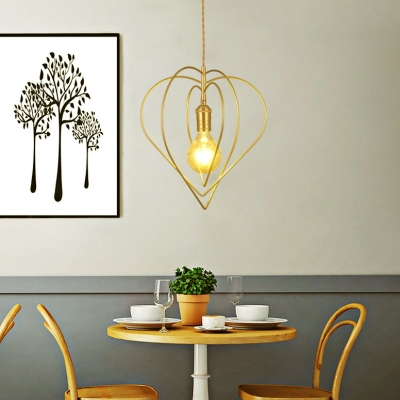 Romantic Heart Shape Pendant Light 1 Light Metal Suspension Light in Gold for Bedroom Living Room