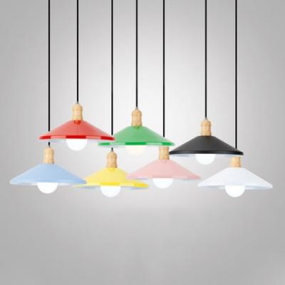 Office Cafe Saucer Suspension Light Wood 1 Head Macaron Loft Candy Colored Pendant Light