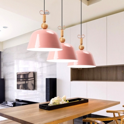 Domed Shade Restaurant Hanging Light Metal 1 Light Modern Macaron Pendant Light in Blue/Pink/Red/Yellow