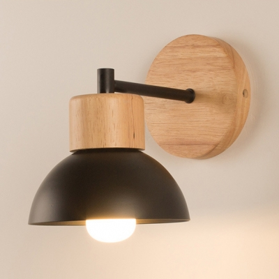 Child Bedroom Domed Wall Lamp Wood Metal 1 Head Nordic Style Black/White Wall Sconce