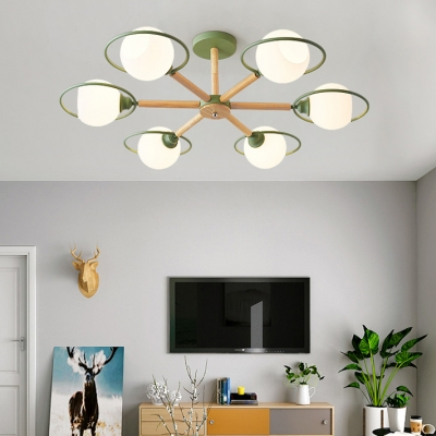 Kindergarten Sphere Shade Ceiling Light Frosted Glass 3/6 Lights Nordic Style Black/Gray/Green Semi Flush Light